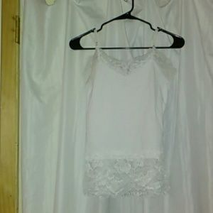 WHBM White Floral Lace Tank Top Size S